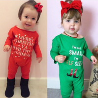 Wholesale Infant Toddler Bodysuit Romper - Xmas Girls Romper Autumn Letter Letter Printed Infant Jumpsuit Spring Merry Christmas Toddler Onesie Cute Newborn Bodysuit C2555