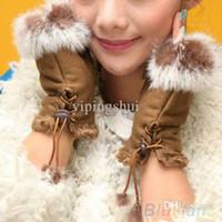 Wholesale Suede Gloves Wholesale - Wholesale-New Rabbit Fur Leather Lady Fingerless Suede Mittens Women Winter Wrist Gloves 1SOT