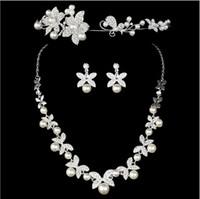 Wholesale Crowned Pearl Earrings - 2015 Elegant Charm Plated Wedding Bridal Pearl Flower Rhinestone Crystal Necklace Earring Jewelry Set