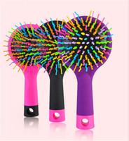 karışık taraklar toptan satış-Gökkuşağı Hacmi Arapsaçı Dolaşık Açıcı Saç Fırçası Çok Renkli Sihirli Detangler Saç Şekillendirici Aracı Saç Fırçası Tarak Ile Ayna ücretsiz kargo DHL
