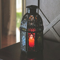 Wholesale Iron Lanterns For Weddings - New Arrival Morocco Black Iron Lantern Candle Holder For Wedding Favors Gift Home Decorations Supplies Free Shipping