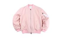 одежда больших размеров оптовых-Осень-хаки / розовый флис мужская одежда пальто негабаритных Большой взрыв прохладный корейский куртки для мужчин одежда женщины MA1 бомбардировщик куртка