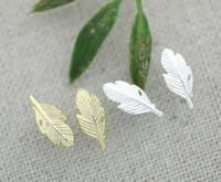 Wholesale Earrings Women Leaves - 10Pair- S006 Fashion brief Fallen tree leaves stud earring silver gold cute Maple foliage plant leaf stud earrings for women