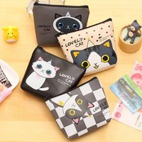 Atacado- QZH 2017 Cute Cat Cartoon Moeda Bolsa para Mulheres Girl PU Leather Wallet Zipper Change Purses Carteira Carteira Holder Coin Pocket Presentes