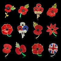 Red Poppy Flower Diamante Crystal Brooch Banquete insignia Brooch Pin Breastpin Crystal Brooches