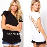 backless flügelhemd großhandel-Frauen Casual Tops Einfarbig Baumwolle T-Shirt Backless Bluse Hohle Flügel Zurück FreeDrop Shipping