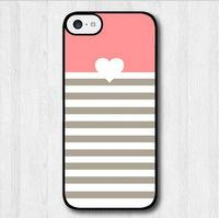 Wholesale Galaxy S4 Heart Case - Pink Heart With Stripes phone case for iPhone 4s 5s 5c 6 6s Plus ipod touch 4 5 6 Samsung Galaxy s2 s3 s4 s5 mini s6 edge plus Note 2 3 4 5