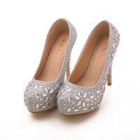 Wholesale Dinner Shoes - 2015 New Style Two Colors 12cm High Heels Bride Bridesmaid Crystal Wedding Shoes Party Dinner Prom Shoes Size : (35 36 37 38 39) J638