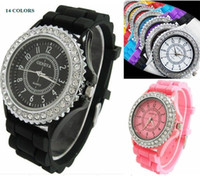 Wholesale geneva watches silicone band - 5pcs Geneva New Crystal edge Watch Jelly Watch One circles Display Silicone Strap Band Candy Color Unisex Men Women Dropship
