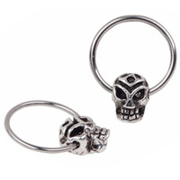 Wholesale India Stainless Jewelry - Trend Skull Hopp Septum Clicker Nose Ring Non Piercing Hanger Clip On india Body Jewelry Piercing