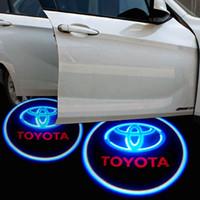 Wholesale Door Light Kits - Car Projection LED Projector Door Shadow Light Welcome Light Laser Emblem Logo Lamps Kit external light car welcome Door Lights