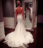 Wholesale Chapel Mermaid Sleeveless - Sexy Backless Lace Mermaid Wedding Dresses 2015 Appliques White Wedding Party Bridal Gowns Spaghetti Straps Chapel Train Sleeveless HY0