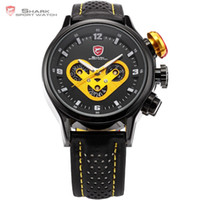 Wholesale Dashboard Leather - Wholesale-Brand New SHARK Sport Watch Date Day 24 Hours Dashboard Steel Case Leather Band Black Yellow Men's Quartz Wrist Watches   SH091