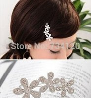 Wholesale new arrivals silver korea resale online - TS096 mix New Arrival Korea Rhinestone plum velvet with small hairpin sunflowers bow side clip hair accessories