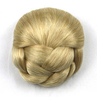 Wholesale Natural Hair Buns - 6 Colors High Temperature Fiber Hair Braided Chignon Clip In Hair Bun Women Donut Roller Hairpieces