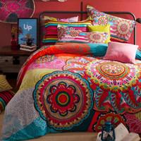 Wholesale Light Pink Full Size Bedding - Wholesale- Bohemia boho luxury bedding set king queen size 4pcs 100% sanded cotton duvet cover set parure de lit adulte free shipping