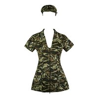 Wholesale Carnival Costumes Police - Sexy Camouflage Uniform One-piece Costume Cosplay Zip Up Super Short Dress With Hat Christmas Halloween Cotton Women V-neck Green Shorts