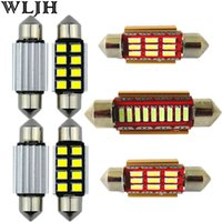 WLJH CANBUS Led Festoon 31mm 36mm 39mm 41mm Éclairage intérieur Auto Lamp DE3175 4014 Chips 2835 SMD Dome Map Light Trunk Bulb