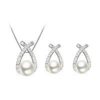 conjunto de joyas de perlas austriacas al por mayor-Pendientes de collar de perlas de cristal austriaco Conjuntos de joyería de perlas de alto grado Temperamento collar de perlas Pendientes de mujer joyería 1038