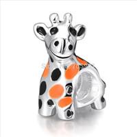 Wholesale Black Giraffe - Enamel Orange&Black 925 Sterling Silver European Charms Bead Giraffe Shape Fit Snake Chain Bracelets Fashion Jewelry