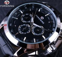 Wholesale man hand watch time - Forsining Business Time Series Black Genuine Leather Strap 3 Dial 6 Hands Men Watches Top Brand Luxury Automatic Watch Clock Men