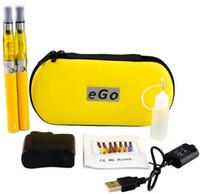 ego double ce4 fall großhandel-Ego CE4 Starter Kit Elektronische Zigarette E-Zigarette Reißverschlussetui Doppel Kit 2 Zerstäuber 2 Batterie 650mah 900mah 1100mah