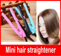 Wholesale Wholesale China Fix Shipping - Travel iron Mini hair straightener Mini hair iron Promotion gift portable hair straightner ceramics plate free shipping