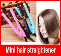 redresseur de cheveux de voyage achat en gros de-Voyage fer Mini fer à lisser / Mini fer à repasser / Promotion cadeau / portable cheveux straightner / céramique plaque livraison gratuite
