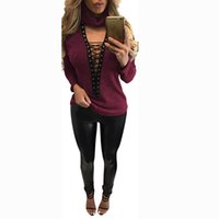 Wholesale Sweaters Lace Bottom - Wholesale- Women Lace Up V Neck Sweater Ribbed Stretched Knitted Top Bandage Knitwear Jumper Elastic Hem Pullover Outwear Bottoming Shirt B