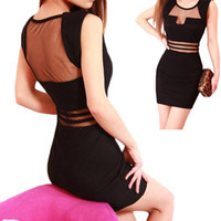 Wholesale Hip Cocktail Dresses - S5Q Women's Clubwear Net yarn Dress Sexy Sleeveless Slim Hip Prom Cocktail Party Evening tops AAADYV