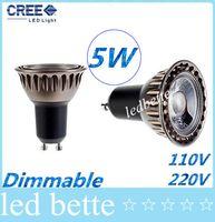 Wholesale 5w B15 Led Bulbs - High CRI>85 COB 5W Dimmable Led GU10 E27 E26 GU5.3 Lights Spotlight Lamp 60 Angle Warm Cool White MR16 Led Bulbs Light 110-240V 12V