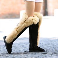 Wholesale Real Injection - Midolvhouse new women fashion real leather genuine and realfox fur boots boots brand design Knee snow Boots factory price wholesale