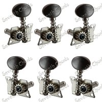 Wholesale Tuning Machines For Classical Guitar - A Set 3R3L Chorme Opened Tuning Pegs Keys Machine Heads Tuners For Acoustic Folk Classical Guitar With Black Small oval Knobs
