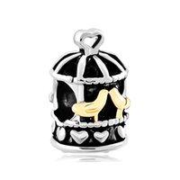 jóia encanto birdcage venda por atacado-Moda feminina jóias estilo Europeu gaiola de pássaro do vintage birdcage metal spacer talão encantos afortunados se encaixa Pandora charme pulseira