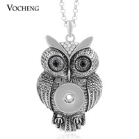 Wholesale Stainless Crystal Rhinestone - NOOSA Owl Necklace Ginger Snap Jewelry 18mm 2 Colors Pendant Popper Jewelry Vintage with Stainless Steel Chain VOCHENG NN-213