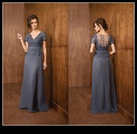 Wholesale Mother Brid Dresses - Gray Short Sleeve Mother Of Brid Groom Dresses 2016 V Neck Lace Chiffon Long Evening Formal Dress Wedding Party Gowns Mother's Formal Wear