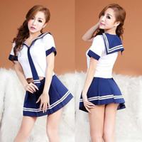 japão beleza mulheres venda por atacado-Frete grátis Japão e Sul beleza Coréia do sexo feminino estudantes carregados de três pontos sexy marinheiro terno uniforme tentação lingerie sexy mulheres saia