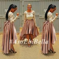Wholesale Cheap Banquet Dresses - 2016 Hot Aso Ebi Style Evening Dresses A-Line Long Sleeve Lace Scoop Collar Zipper Back Cheap Prom Gowns Banquet Dress Formal Dress SH48