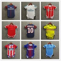 Wholesale Jumpsuit Short Unisex - ^_^ Wholesale 17 18 madrid baby soccer jerseys Jumpsuit Baby Triangle Climb Clothes Loveclily football shirts custmize ronaldo neymar