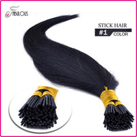 "colores de la punta del cabello indio al por mayor-18 ""20"" 22 ""Pre Sticked Stick Hair I tip Kertain Hair Extensions Straight Natural Indian Remy Virgin Virgin # 1 Jet Black"