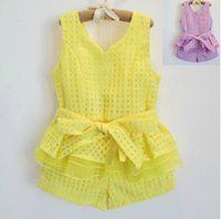 Wholesale Girls White Tanks - Girl Clothes Children Set Kids Suit Outfits Child Clothing Lace Tank Tops Summer Shorts Child Suit Kids Sets Girl Suit Outfits Dress Suits