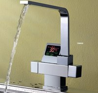 Wholesale Display Bowl - New-Digital display Thermostatic Kitchen Faucet sink basin mixer tap chrome swivel round one