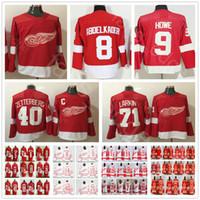 Wholesale howe jersey - 2018 New Style Detroit Red Wings Hockey 8 Justin Abdelkader 9 Gordie Howe 40 Henrik Zetterberg 19 Steve Yzerman 71 Dylan Larkin Jersey
