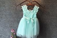 Wholesale Crochet Dress Girl New - UPS Free ship Fashion girls Lace Crochet Vest Dress 2016 new Princess Girls sleeveless crochet vest Lace dress baby party dress kids clothes
