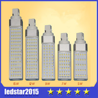 Wholesale G24 11w - 2015 LED Bulbs Horizontal Plug Lights Led Corn Light E27 G24 G23 SMD 2835 180 degeree AC 85-265V 5W 7W 9W 11W 12W 15W 75 LEDs Led Lighting