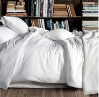 sacos de roupa de cama venda por atacado-Luxo 100% algodão egípcio sólida branco conjunto de cama king size rainha colcha capa de edredão lençóis lençóis cama em um saco quarto lençol 2015 sp