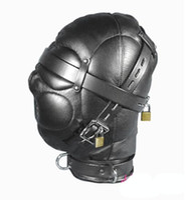 Wholesale Locking Hood Leather - Leather Sex Headgear sensory deprivation bondage hood hat with Locking Buckles Sex Headgear With Lock J1805