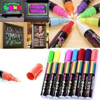 ingrosso evidenziatore fluorescente principale-8 colori 8pcs / lot evidenziatore liquido fluorescente gesso 6mm pennarello per lavagna LED