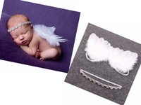 Wholesale Photos Wings - 5SET Couture Fairy Baby Angel Baby white Wing and Baby Rhinestone Headband Set Beautiful Newborn Christening hair band Photo Prop YM6126