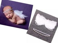 headband de pena rhinestone venda por atacado-Fada Couture 5set Angel Baby bebê branco Wing and bebê Rhinestone Headband Set faixa de cabelo bonito recém-nascido da foto do Prop YM6126